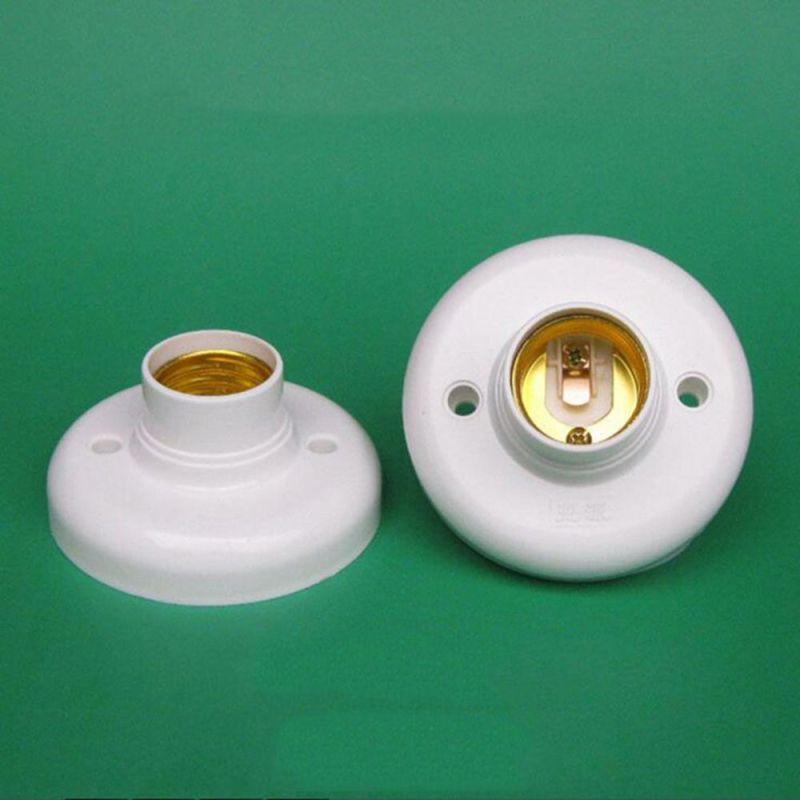 PEANSEA 1/5PCS Trần nhà Nhựa Tự làm tại nhà Phụ kiện đèn Ổ cắm tròn Ánh sáng vít Đế đèn E27 Giá đỡ bóng đèn