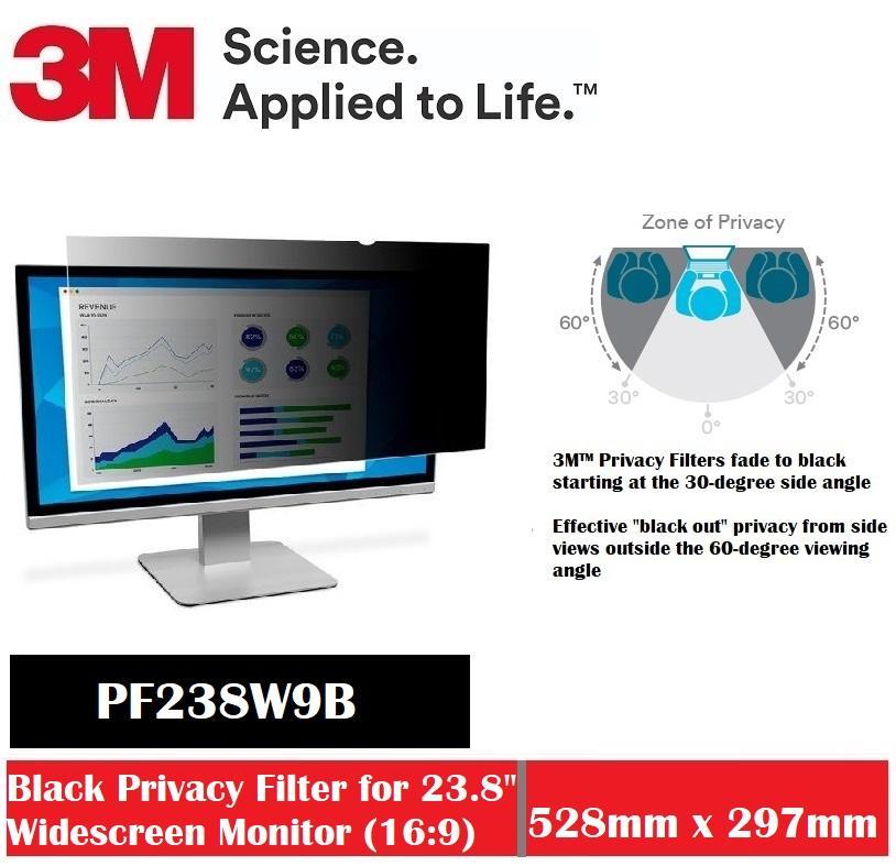 3M Black Privacy Filter For 23.8 Widescreen Desktop PF238W9B