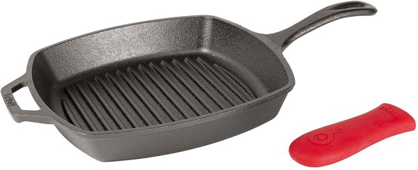 Lodge Cast Iron 10.5 Inch Square Grill Frying Fry Pan Skillet Griddle Pre-Seasoned with Red Silicone Hot Handle Holder Grip Cover Singapore