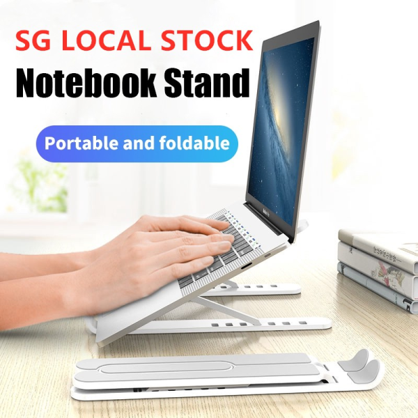 [✅Sg Ready Stock] Portable Laptop Stand Foldable Adjustable Support Base Non-slip Notebook Holder Healthy Posture