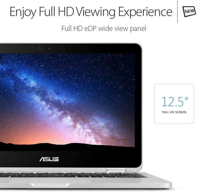 "ASUS Chromebook Flip C302 2-In-1 Laptop- 12.5"" Full HD 4-Way NanoEdge Touchscreen, Intel Core M5, 4GB RAM, 64GB Flash Storage, All-Metal Body, Backlit Keyboard, Chrome OS"