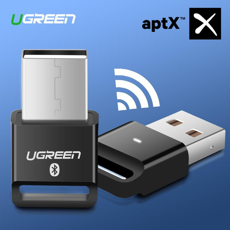 UGREEN Mini USB AptX V 4.0 Wireless Bluetooth Dongle CRS Audio Receiver Compatible with Windows PC Cellphone Speaker,Black-Intl