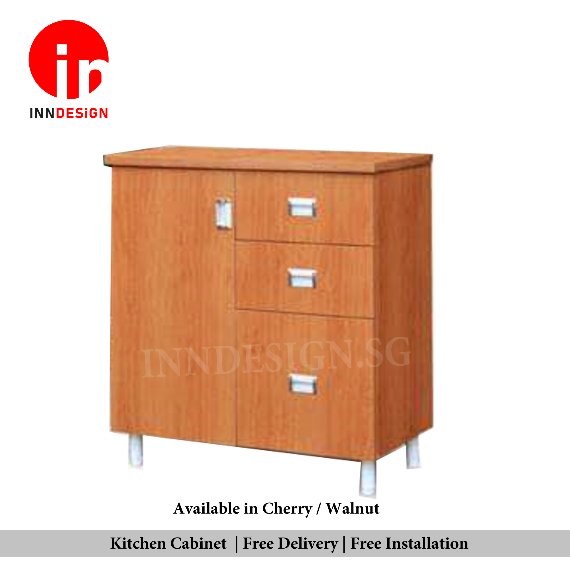 Cassina 2 Doors Kitchen Cabinet With Drawer (Fully Assembled and Free Installation) (Walnut / Cherry