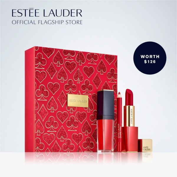Buy [Valentines Day] Estee Lauder - 3pc Pure Color Envy Lipstick + Liquid Lipstick + Double Wear Stay-in-Place Lip Pencil - Lady Luck Ruby Lips Makeup Set (Worth $126) Singapore