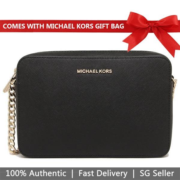 Michael Kors Crossbody Bag With Gift Bag Jet Set Large Crossbody Handbag Black / Gold # 35T8GTTC9L
