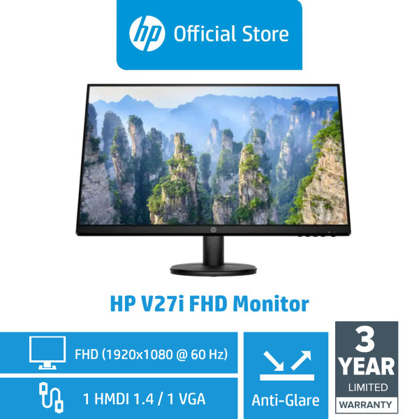 HP V27i FHD Display Monitor / Anti Glare / 1 VGA / 1 HDMI 1.4 (with HDCP support)