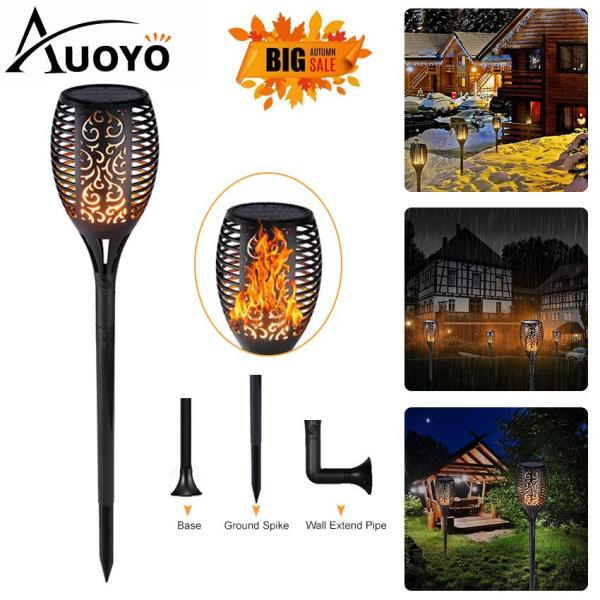 Auoyo 96 LED Solar Lights Outdoor Lighting Upgraded Landscape Decoration Lighting Waterproof Solar Torch Light Solar&USB Charging Flickering Flame Light Auto On/Off Dusk to Dawn for Garden Pathway Yard