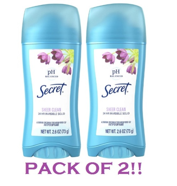 Buy Secret Antiperspirant Deodorant for Women, Sheer Clean Scent, Invisible Solid, 2.6 Oz (Pack of 2) Singapore