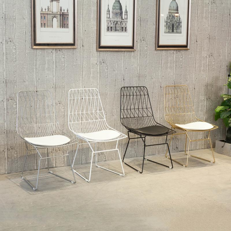 Northern Europe INS Style Dining Chair Household Hollow out Wire Mesh Chair Iron Art Backrest Dining Chair Outdoor Leisure Chair