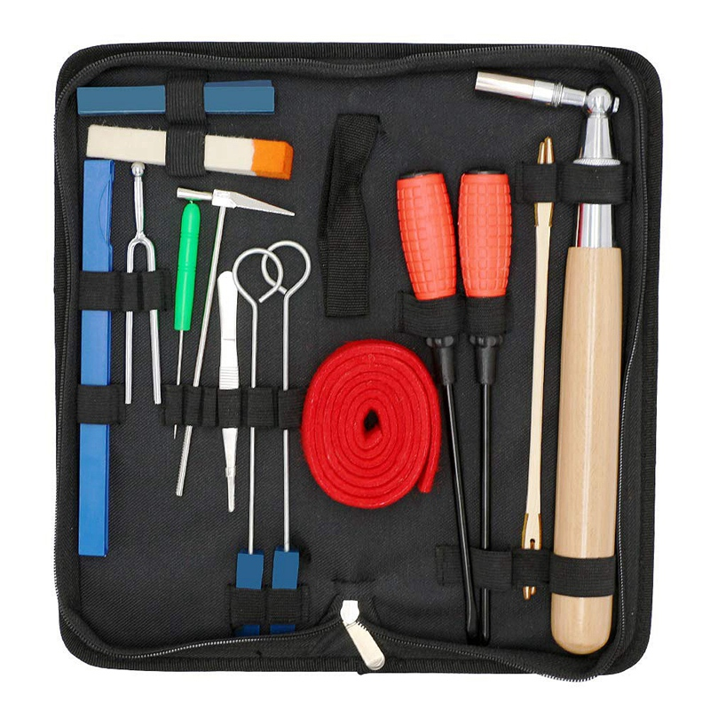 Piano Tuning Kit 16Pcs Professional Piano Tuners Tools Set Wrench Hammer Mute Fork Screwdriver Belt Tweezers Clip