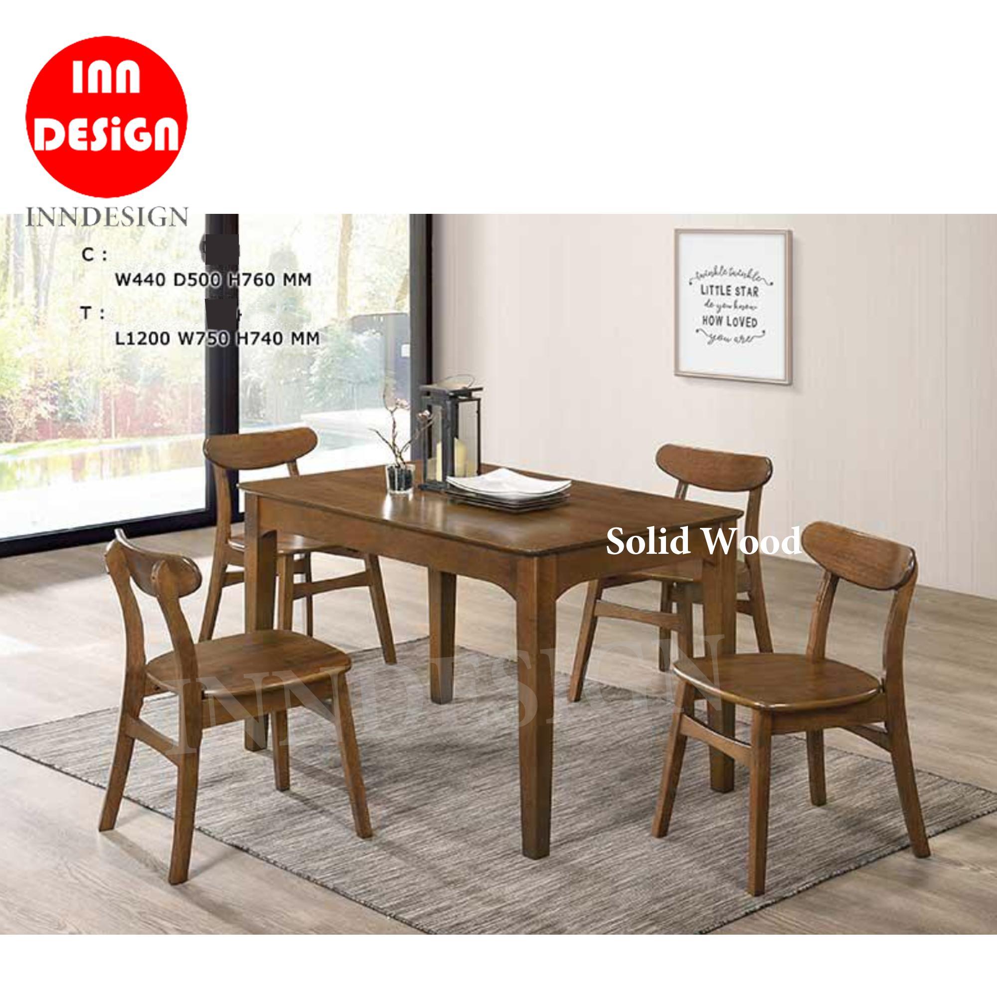 Hamis 1+4 Dining Set (100% Solid Wood) (Free Installation)