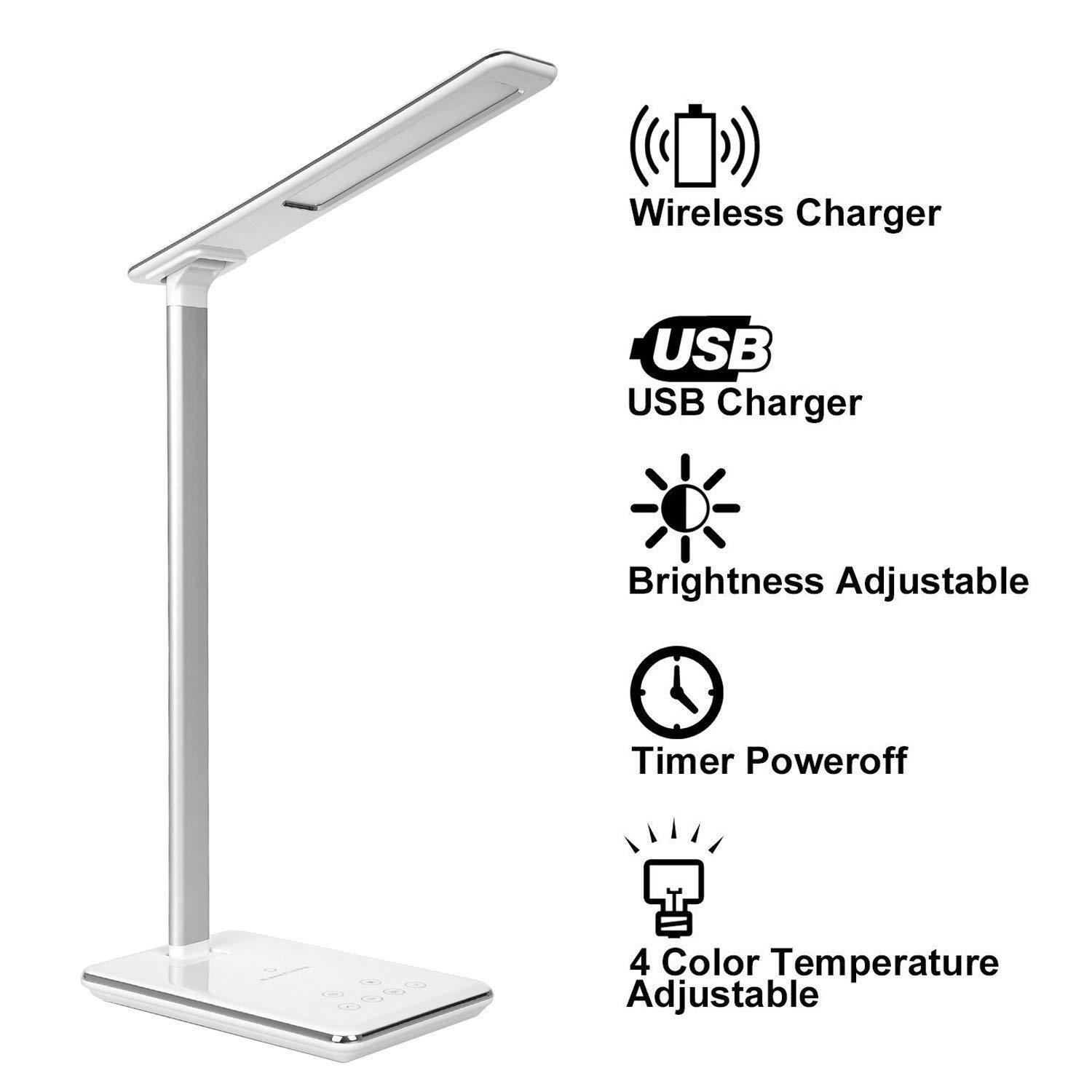 LED Desk Lamp Dimmable Table Lamp with Qi Wireless Charger, 4 Color Temperatures 6 Adjustable Brightness,Timer Setting,USB Charging Port,Touch Control Singapore