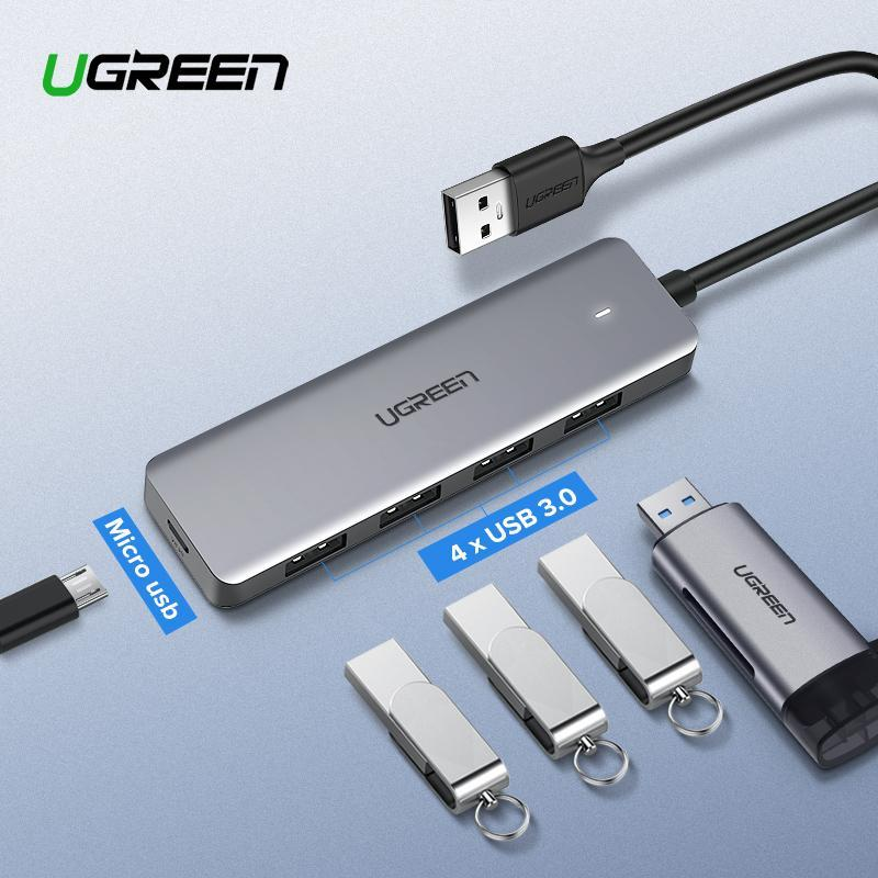 【Free Charging Cable】UGREEN 4-Port USB 3.0 Hub, Ultra Slim High-Speed USB Splitter Portable Extension Data Hub Compatible for MacBook, Mac Pro/mini, Surface Pro, XPS, PS4, Xbox One, Flash Drive, HDD and More, Grey/16CM