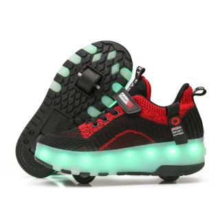 Đèn Dây Đôi Giày Bánh Xe Nam Nữ Trẻ Em Duy Nhất Đèn Nháy Nổ Giày Tự Động Hình Học Sinh Ròng Rọc Giày Giày Bánh Xe thumbnail