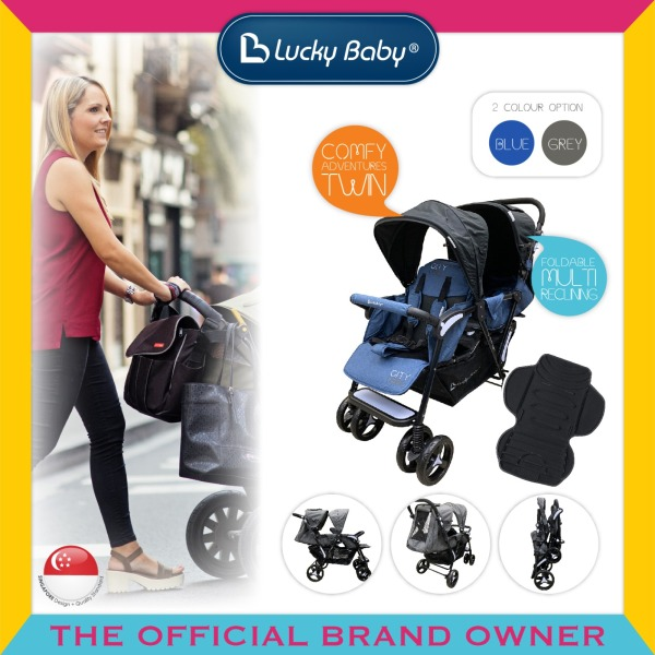 Lucky Baby®516492/516508 City Dou™ Plus Twin Stroller-Denim Blue/ Gray Singapore