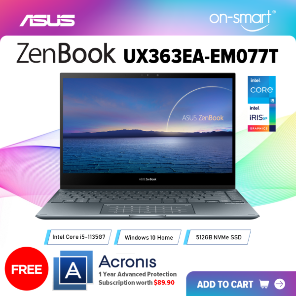 【Next Day Delivery】ASUS ZenBook Flip 13 UX363EA-EM077T | Intel Core i5-1135G7 Processor | 8GB RAM | 512GB PCIe SSD | Intel Iris Xe Graphics | Windows 10 Home | 2 Years International Warranty | FREE Acronis Subscription