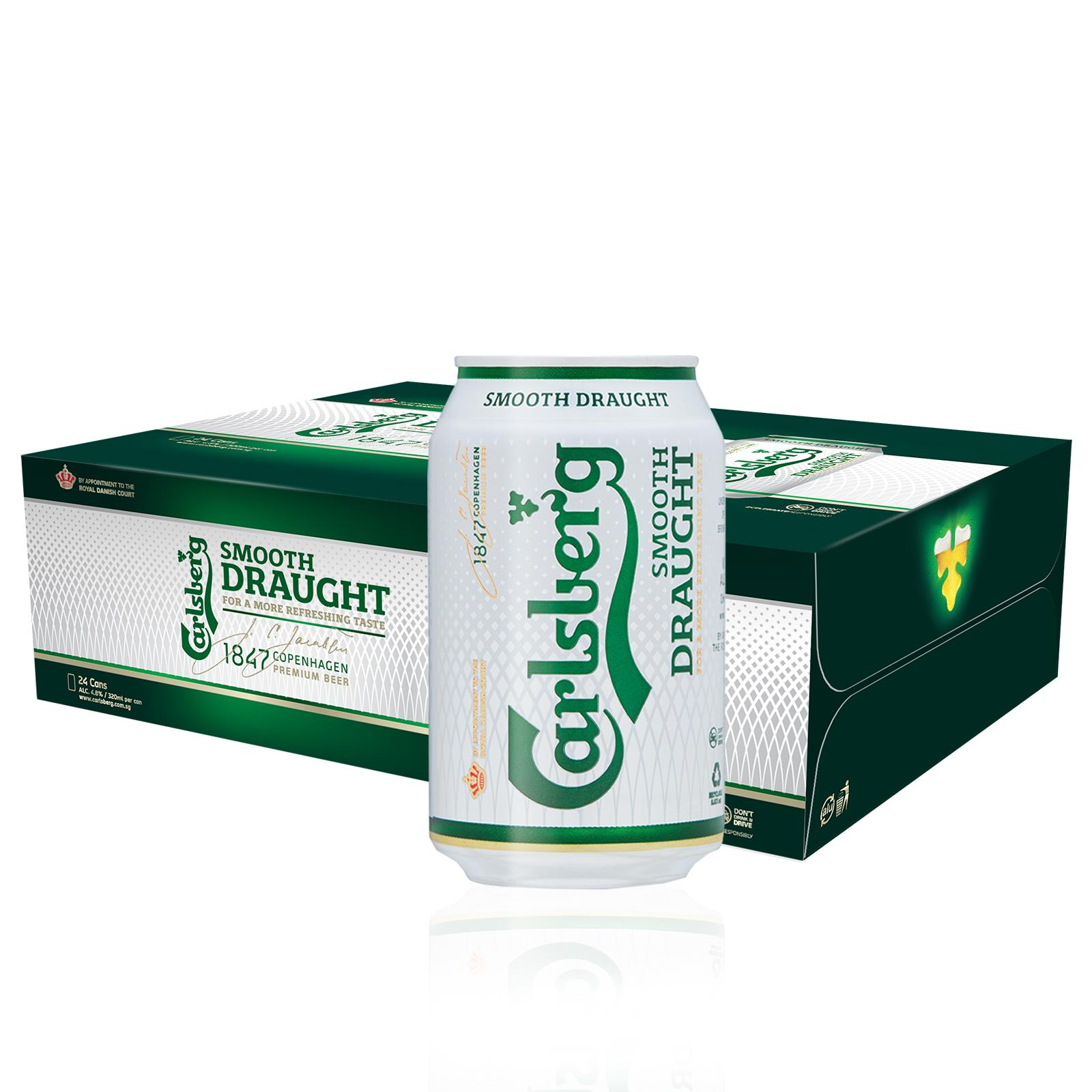 Carlsberg Smooth Draught Beer Can 320ml (Pack of 24)