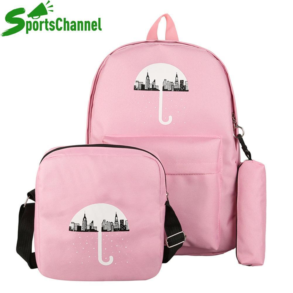 3pcs/Set Umbrella School Bag Teenage Girl Canvas Backpack Composite Bookbag