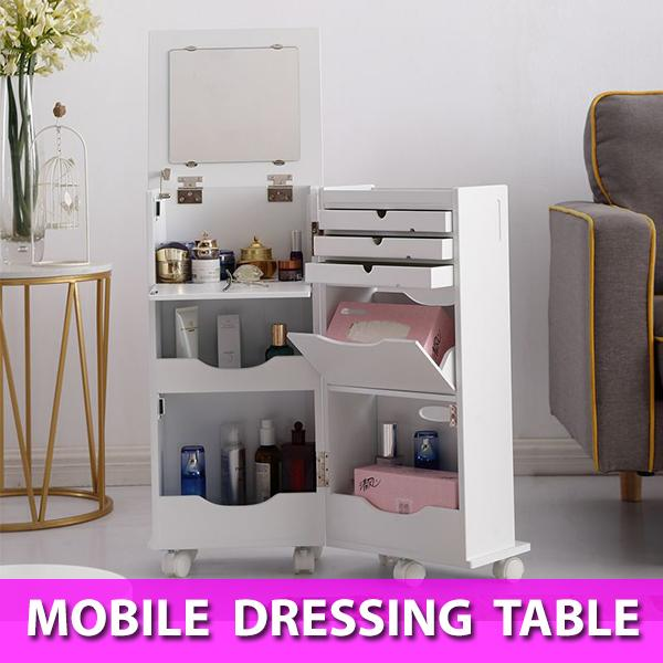 Mobile Portable Dressing Table Mirror Storage Cabinet Organizer with Wheels