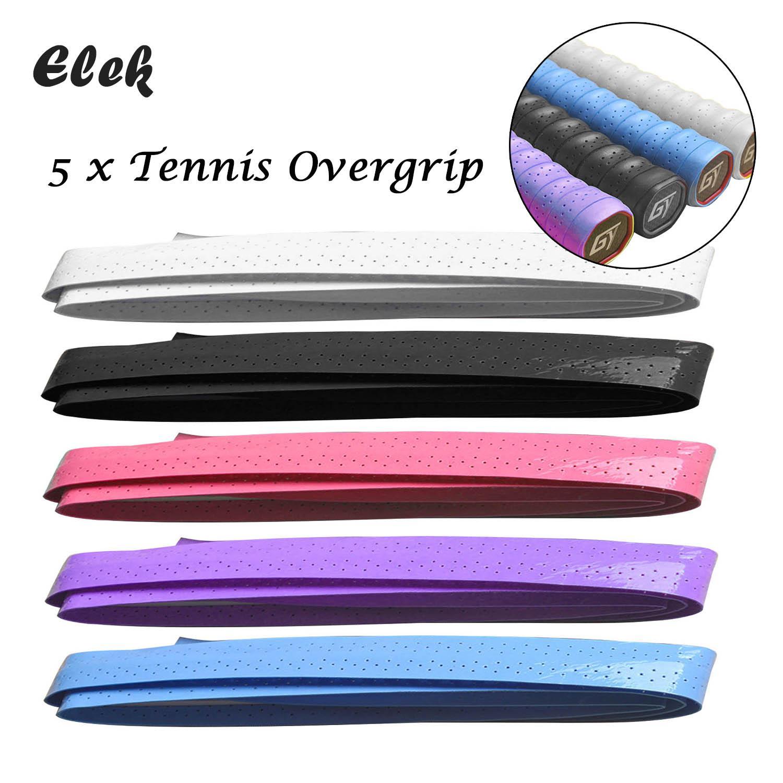 Elek 5 Pcs Anti-Slip Perforated Sweat Absorbent Tennis Squash Badminton Racket Battledore Overgrip Fishing Rod Bike Bar Grip Tape By Elek.