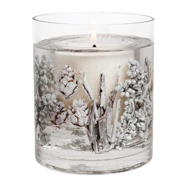 Stoneglow -  Frosted Wood Natural Wax Gel Vase Candle