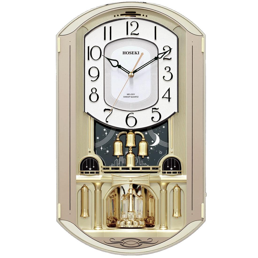 Hoseki H-9230 H-9230CH Champagne Melody Quartz Analog Wall Clock