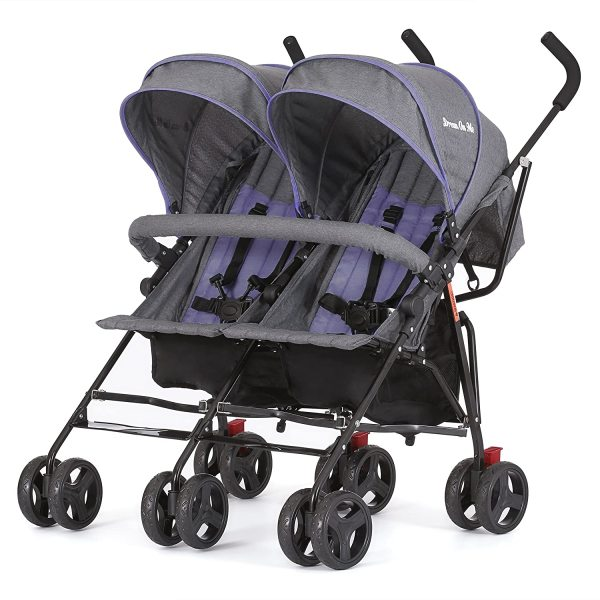Dream On Me Volgo Twin Double 2 Two Children Child Kids Umbrella Stroller, Purple/Dark Grey Singapore
