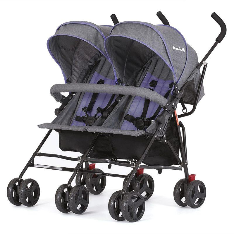 Dream On Me Volgo Twin Double 2 Two Children Child Kids Umbrella Stroller, Purple/Dark Grey Singapore