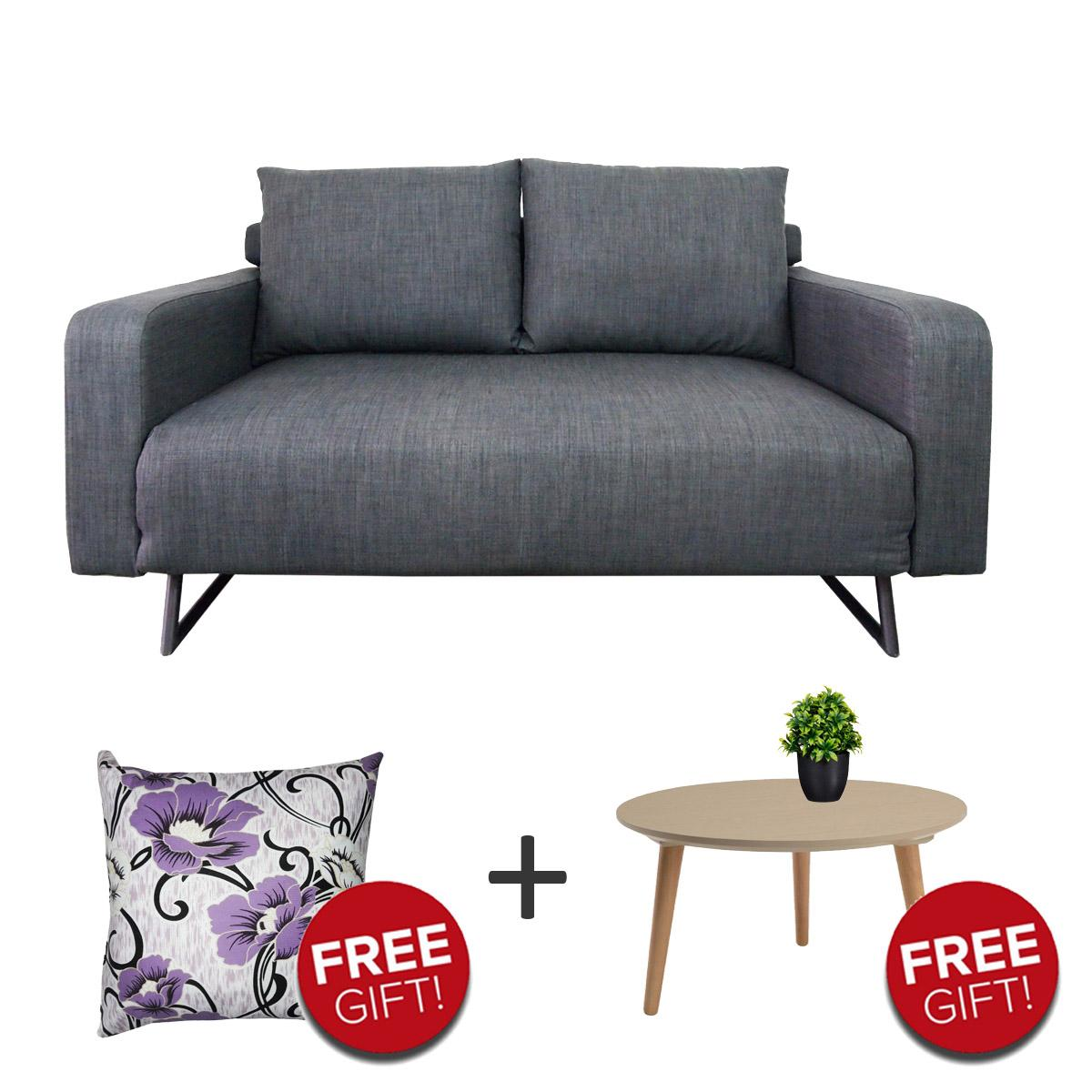 Fabric 2 Seater Sofabed + Free Coffee Table + Free Hug Cushion + Free Delivery