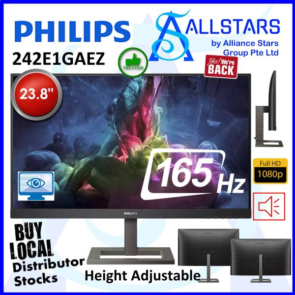 (ALLSTARS : We are Back / Screen Promo) Philips 242E1GAEZ 23.8 inch Gaming Monitor / VA / 165Hz / DP+HDMI / Audio Out / Built-In-Speaker / Height Adjustable / VESA Mount Compatible 100x100mm (Warranty 3years with Philips SG)