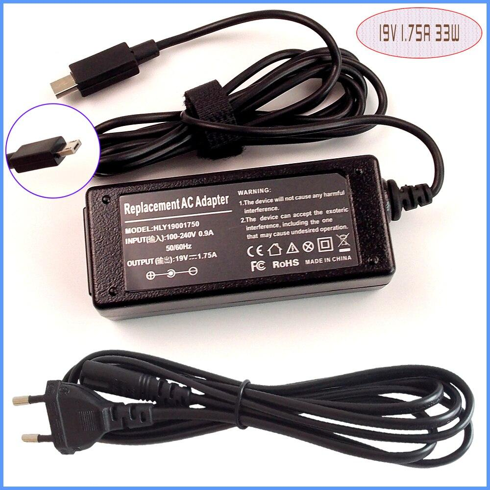 Laptop Netbook Ac Adapter Power Charger 19V 1.75A for as-us VivoBook E200 E200H E200HA-US01-GD E200HA-US01-BL (uk plug)