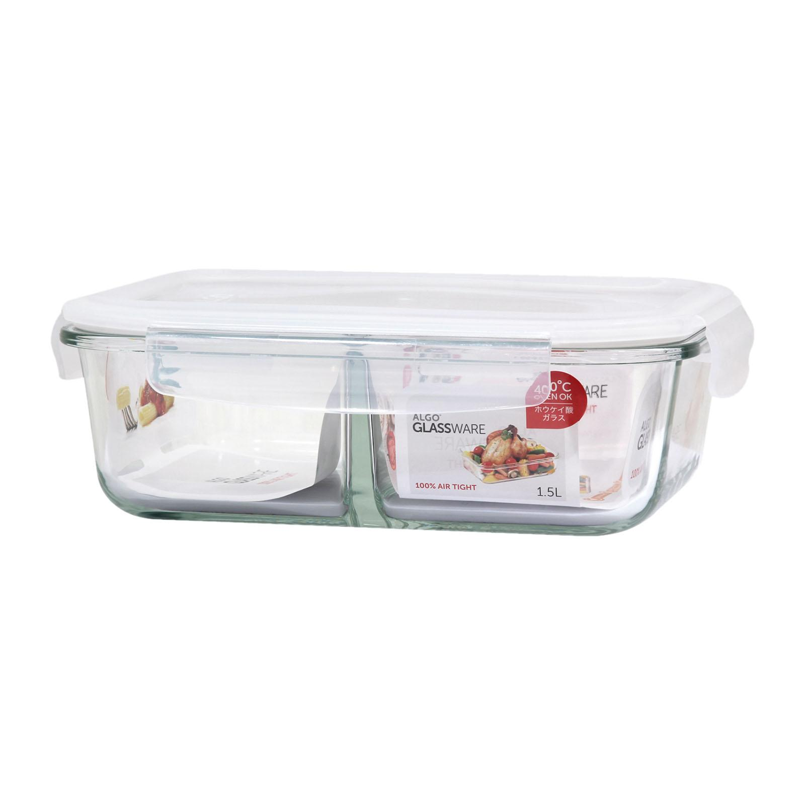 Algo Glass Container with Divider 1500ML Rectangular