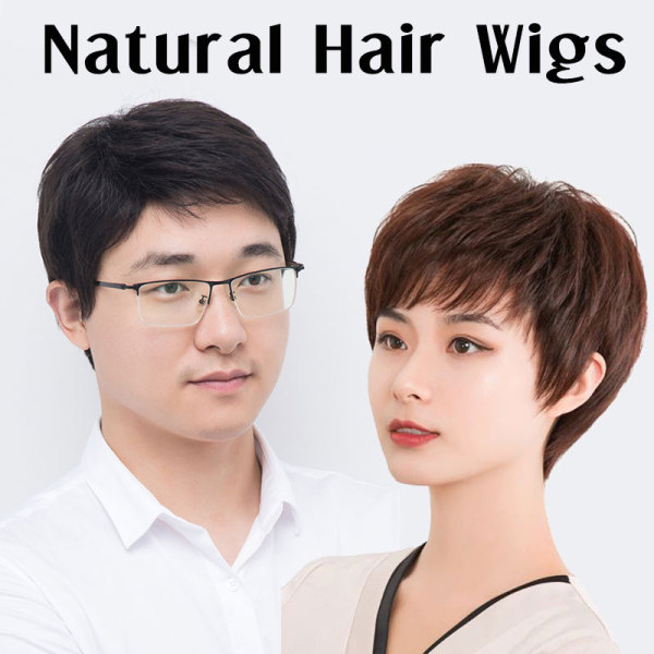 Buy Real Human Hair Wig Short Fluffy Bangs Natural Fringe Haircuts Hair Treatment Men Women Wigs [ Elitrend ] Singapore