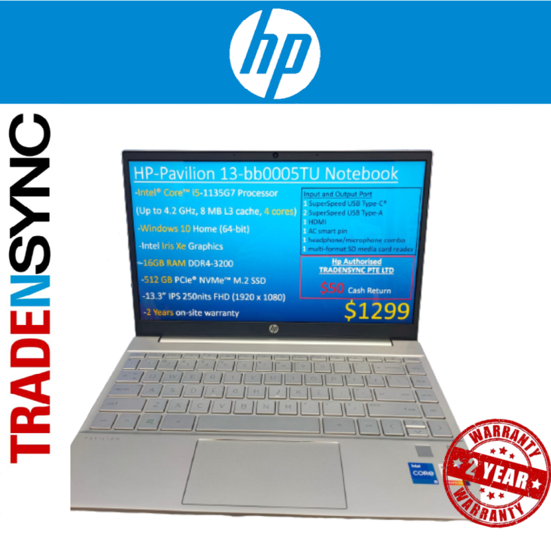 HP Pavilion Laptop 13-bb0005TU ■ I5-1135G7 ■Intel Iris Xe  ■16GB Ram DDR4-3200 ■512GB SSD ■13.3IPS FHD 250nits ■ 2 Years on-site warranty