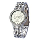 Best Offer Diamond Bezel And Band Quartz Steel Watch With Date Display Decorative Sub Dials Silver