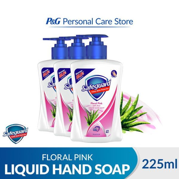 Buy [Bundle of 3] Safeguard Family Germ Protection Liquid Hand Soap Floral Pink with Aloe 225ml Singapore