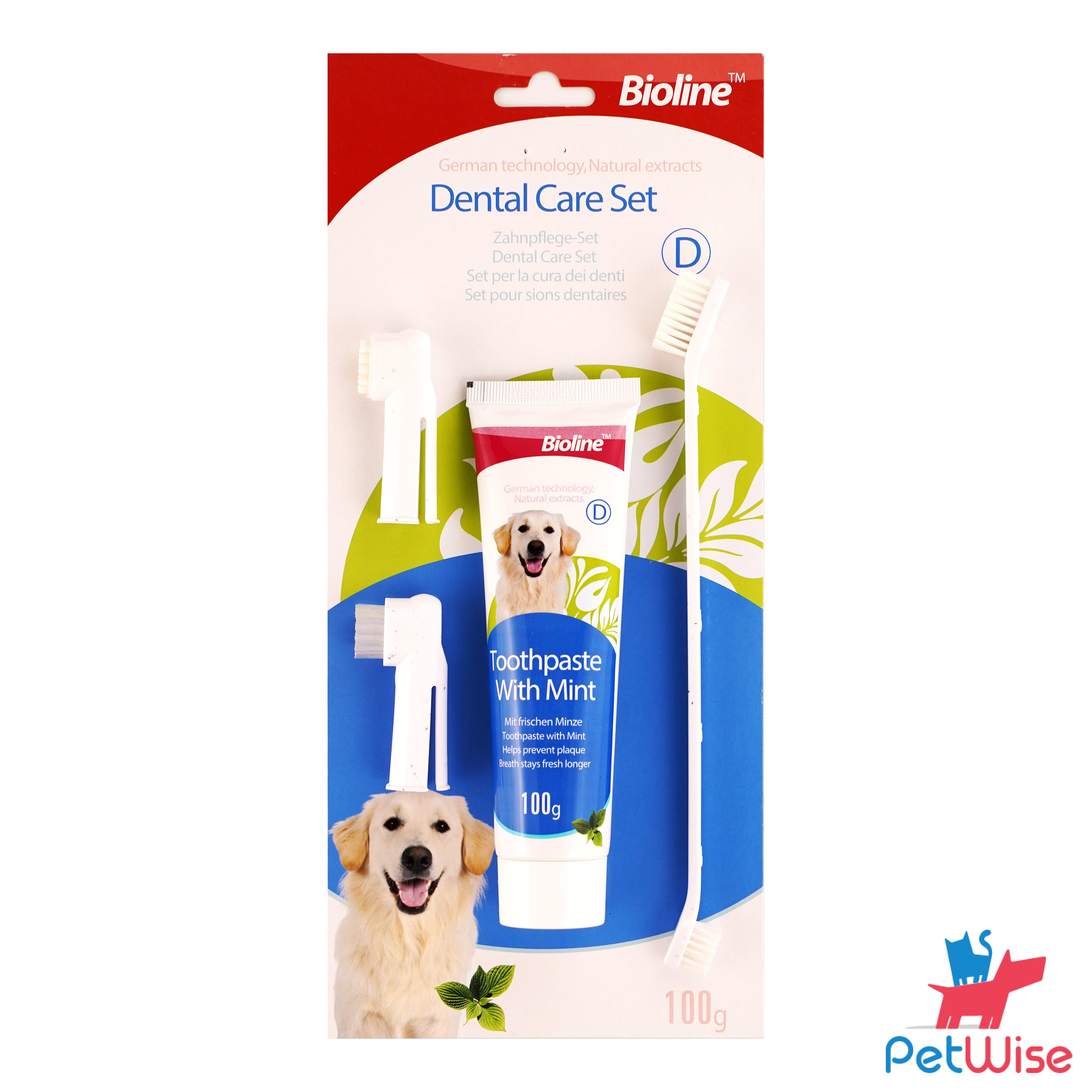 Bioline Dental Care Set For Dogs - Mint Flavour 100g.