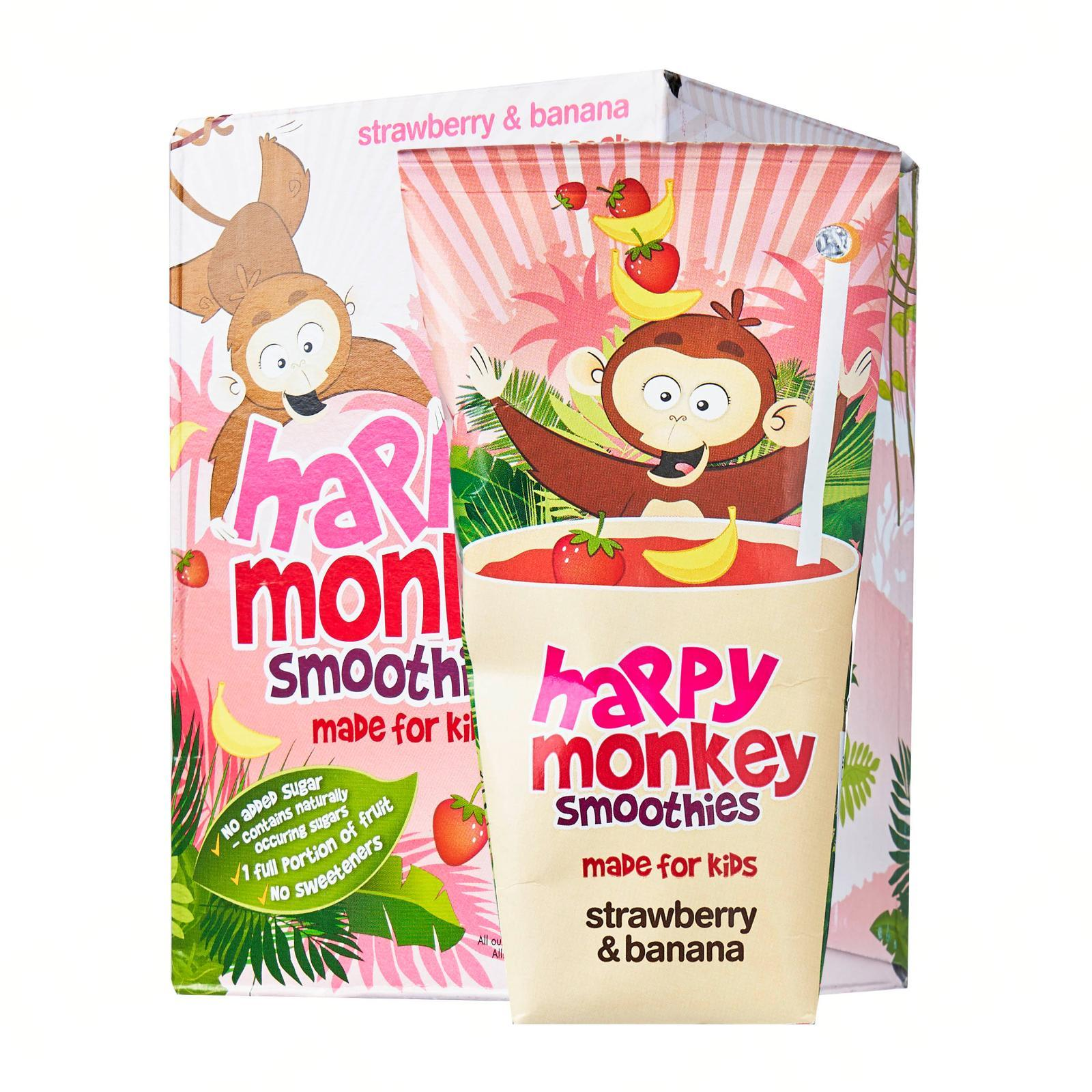 HAPPY MONKEY 100-Percent Fruit Smoothies - Made for Kids - Strawberry Banana x4