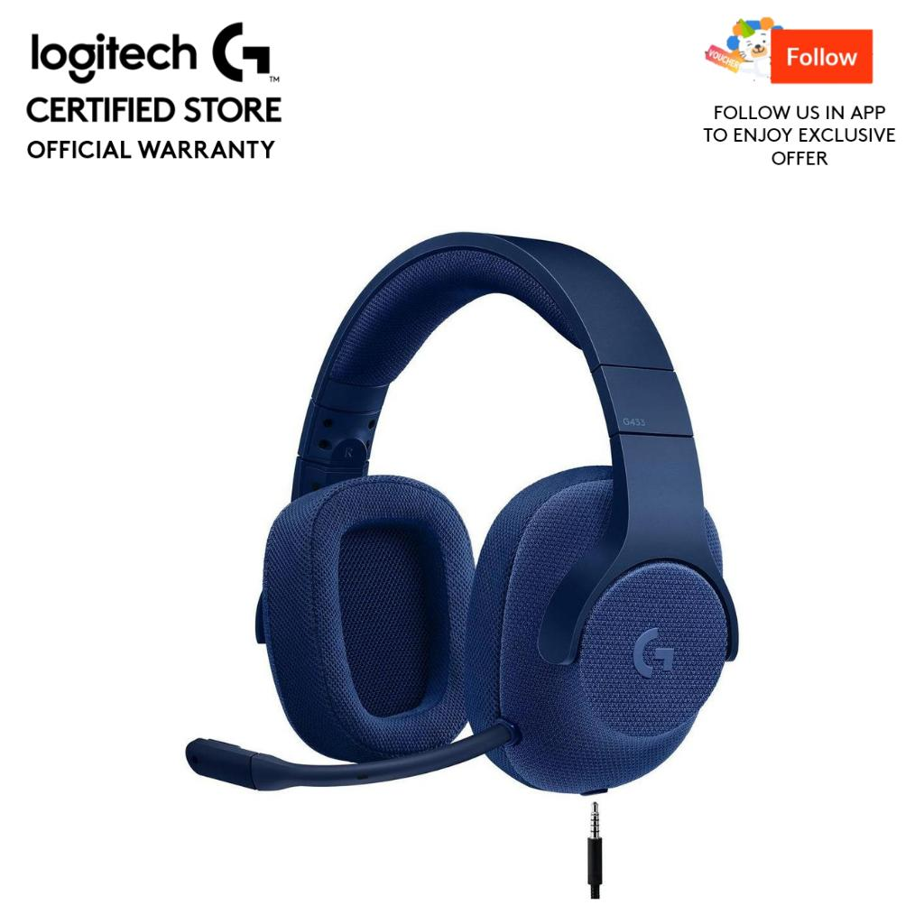 Logitech G433 Blue 7.1 Wired Gaming Headset with DTS Headphone: X 7.1 Surround for PC, PS4, PS4 PRO, Xbox One, Xbox One S, Nintendo Switch