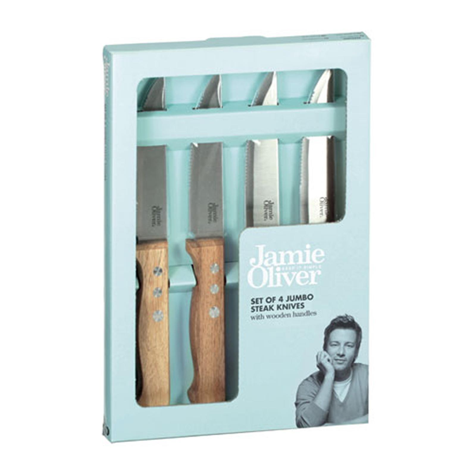 Jamie Oliver Jumbo Steak Knives With Wooden Handles - Set Of 4 By Redmart.