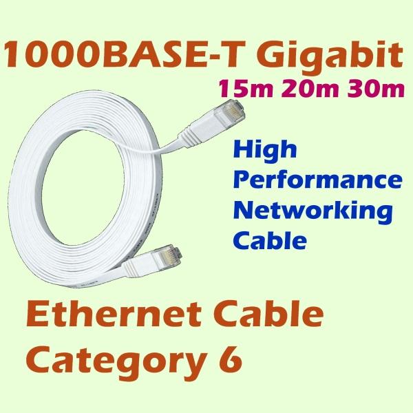 1M 2M 5M 10M 15M 20M 30M Ethernet LAN Flat CAT 6 Network Cable High Speed Gigabit Internet Computer RJ45 For Router