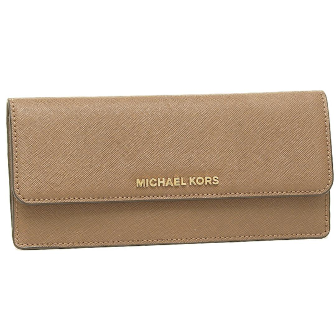 2a1a55feee6b Michael Kors Jet Set Travel Flat Saffiano Leather Wallet (Dark Khaki)