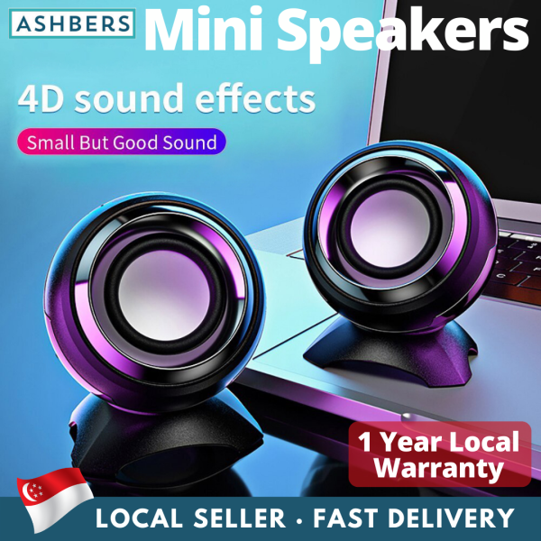 Mini Computer Speakers - 7 Colour Options, Notebook Compact Stereo USB Powered speakers, home desktop small speaker, Laptop audio household and Office wired speaker, subwoofer mobile phone HIFI Bass 3.5mm. Black, White, Green, Blue, Pink, Gold, Chrome.