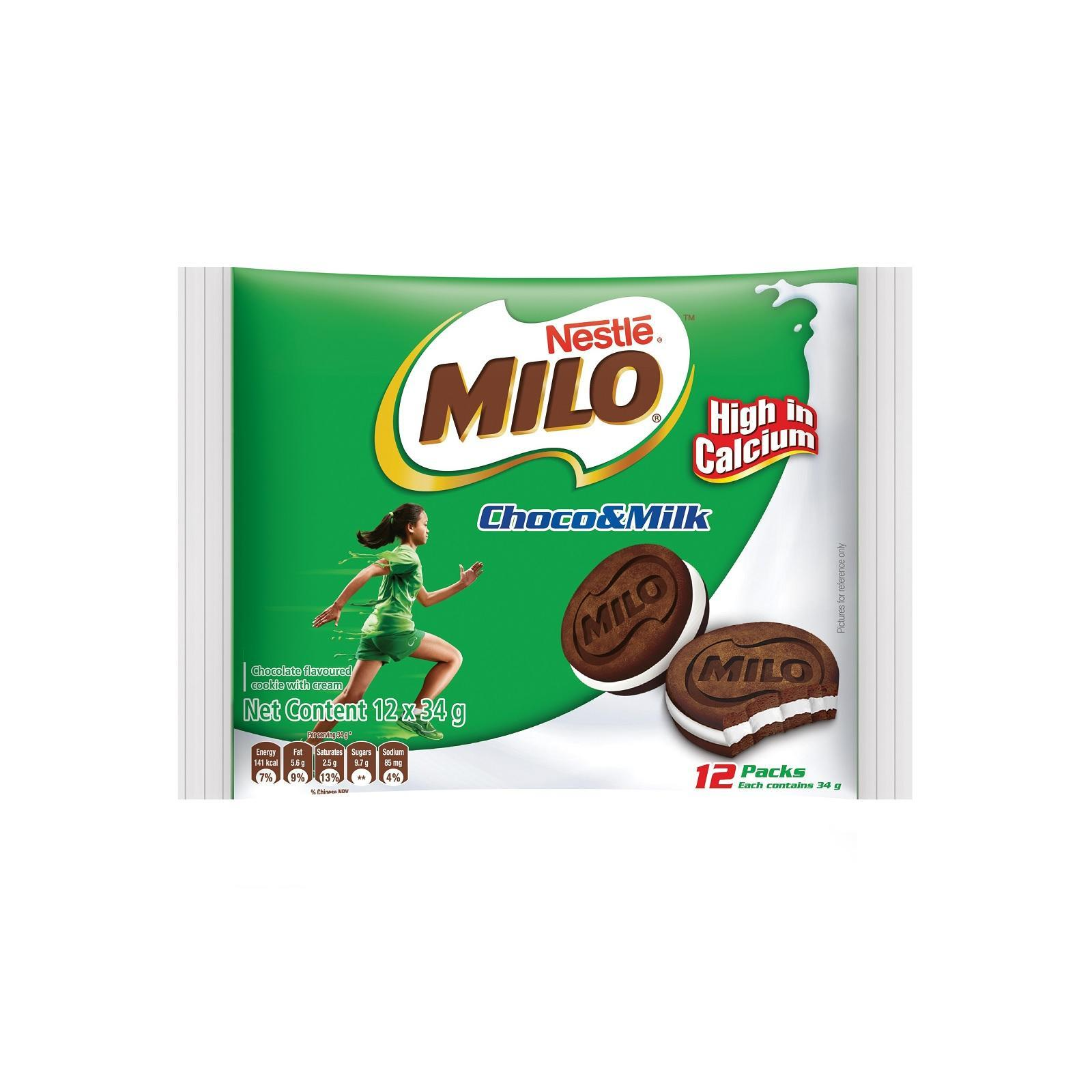 Milo Biscuit Sandwich With Milk