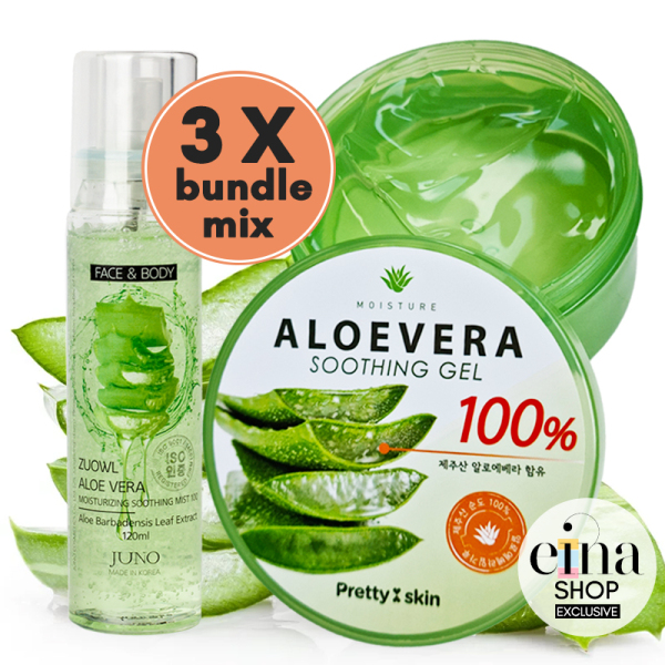 Buy Bundle of 3 Mix PRETTYSKIN Aloe Vera 100% Water-full Soothing gel / JUNO Aloe Vera Moisturizing Soothing Mist SG Ship Einabeauty Singapore