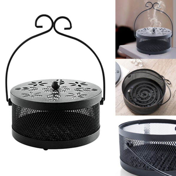 Mosquito Coil Box Iron  Incense Burner Censer Incense Box Holder Fire Prevention Hanging Style ❤