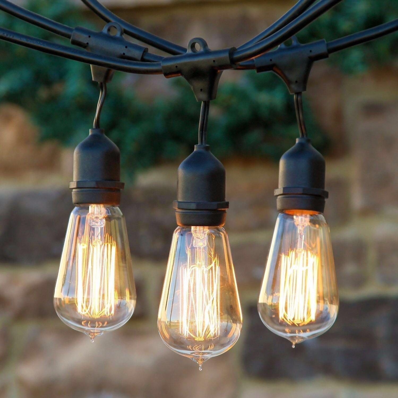 45FT Outdoor Garden Patio String Lights include EDISON Bulbs Waterproof Pasar malam night market pendant light
