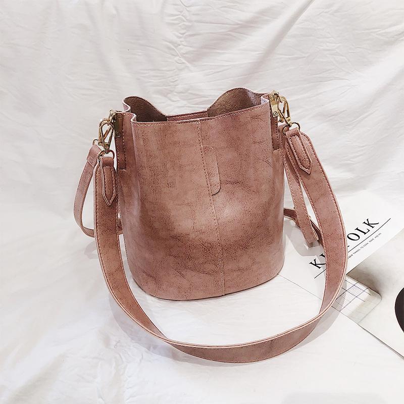 Vintage Bags Female 2019 New Style Korean Style Fashion Leisure Texture Versatile Wide Shoulder Strap Hand Single Shoulder Bucket Bag