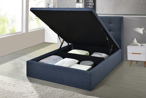 Storage Bed Frame - Fabric Upholstery - Color option - All size available