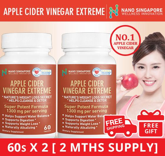 [1+1] No.1 Apple Cider Vinegar ❤ [120 Caps] Cheapest ❤detox Cleansing❤1300mg ❤no Liquid Sideeffects By Nano Singapore.